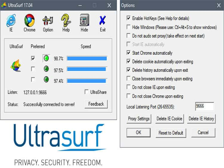 Ultrasurf VPN Features