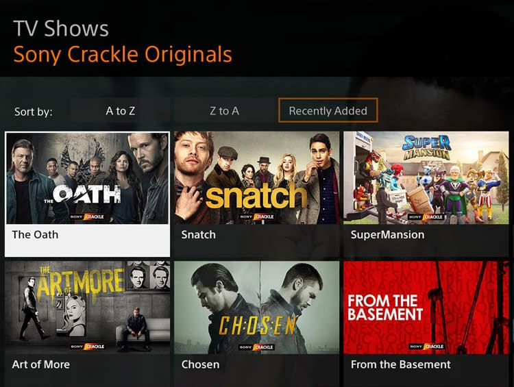 Sony Crackle astreaming website