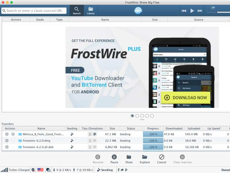Frostwire open-source torrenting client